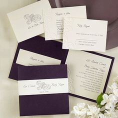 Plum Raisin Purple and Ivory Ecru Damask Embossed Wedding by kshia, $2.59