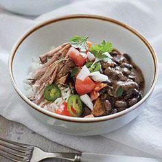 Cuban Pork Shoulder with Beans and Rice Recipe   MyRecipes.com