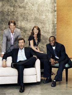 ca. 2005 --- L-R: Jesse Spencer, Hugh Laurie, Jennifer Morrison, and Omar Epps. --- Image by © Jack Guy/Corbis Outline
