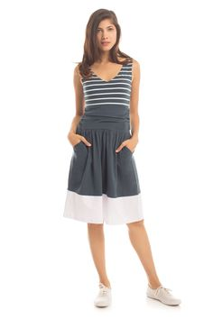 Striped Moxie Dress in Orion Blue/White Stripe