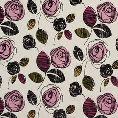 Brown Pink Red and Gold Rose Flower Contemporary Linen and Microfiber Upholstery Fabric