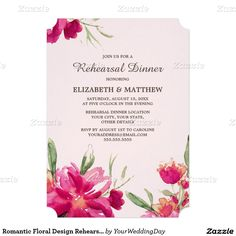 Romantic Watercolor Flower Painting Design Personalized Rehearsal Dinner Invitations. Customize the names, date , text and all details of your Invitations.Matching Wedding Invitations, Bridal Shower Invitations, Save the Date Cards, Wedding Postage Stamps, Bridesmaid To Be Request Cards, Thank You Cards and other Wedding Stationery and Wedding Gift Products available in the yourweddingday store at zazzle.com