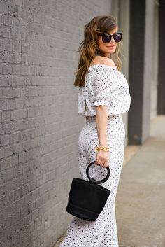 small polka dots Juli jumpsuit accessories Bonsai Nubuck Bucket Bag karen walker Super Duper Strength Sunglasses sunnies Julie Vos Savannah Link Bracelet BAUBLEBAR MARIELA HOOP EARRINGS BLACK