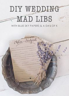 DIY Wedding Mad Libs Printable with Blue Sky Papers & A Day of K