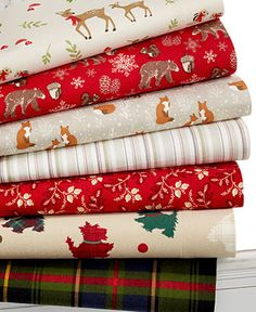 Martha Stewart Collection Novelty Print Flannel Sheet Sets - Woodland creatures, perfect plaids and festive pups bring holiday merriment to your home in these Novelty Print Flannel Sheet Sets from Martha Stewart Collection.