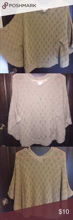 Tan knit shawl! The perfect beach cover up! Tan knit shawl, never worn! NWOT. Size medium but fits closer to a small. Tops Blouses