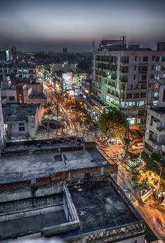 The city of Varanasi in India, from the roof of my hostel.