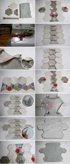 Quilting Hexagon Pouch Tutorial DIY in Pictures.