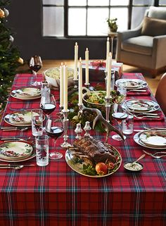 Make The Holidays Bright With Classic Tartan Table Linens, A Festive  Favorite Since Victorian Times. Our Versatile Red Plaid Tablecloth Displays  A Rich, ...
