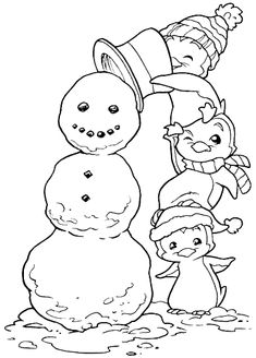 Snowman/Penguin coloring page Penguin Coloring Pages, Christmas Coloring Pages, Coloring Book Pages, Coloring Pages For Kids, Free Printable Coloring Pages, Christmas Colors, Christmas Art, Illustration Noel, Christmas Embroidery