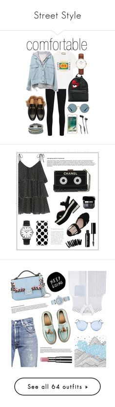 """Street Style"" by madedinorog ❤ liked on Polyvore featuring 7 For All Mankind, Gucci, Daniel Wellington, Chiara Ferragni, Ray-Ban, Griffin, JBL, Design Lab, Miu Miu and Lisa Marie Fernandez"