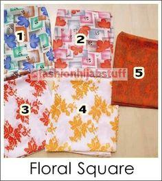 Floral Square bahan katun polyester satuan IDR 35,000; IDR 100,000/3pcs; IDR 180,000/6pcs (bisa dicampur dengan Square Hijab dan Pashmina Import )