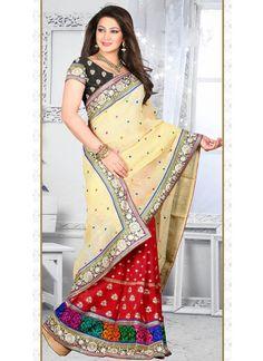 Red Linen Half N Half Saree With Resham Work