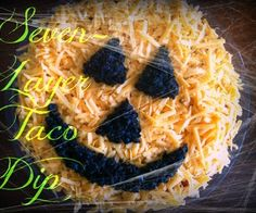 7 layer Dip shaped like a pumpkin for Halloween. <3 this!! Can't wait to make it!!!! :-)