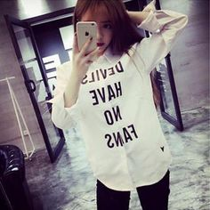 Long-Sleeve Lettering Shirt from #YesStyle <3 QZ Lady YesStyle.com