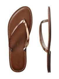 Contrast leather flip flops