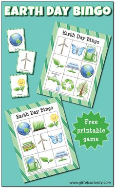 Free printable Earth Day Bingo game with 10 different playing cards for hours of Earth Day fun! This game is a great way to spark conversations about how we can all help our planet.    Gift of Curiosity