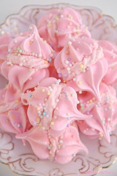 Pink Piccadilly Pastries: Pink Vanilla Meringues with Cotton Candy Whipped Cream