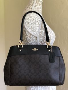 Coach F26140 Signature Large Brooke Carryall Brown Black