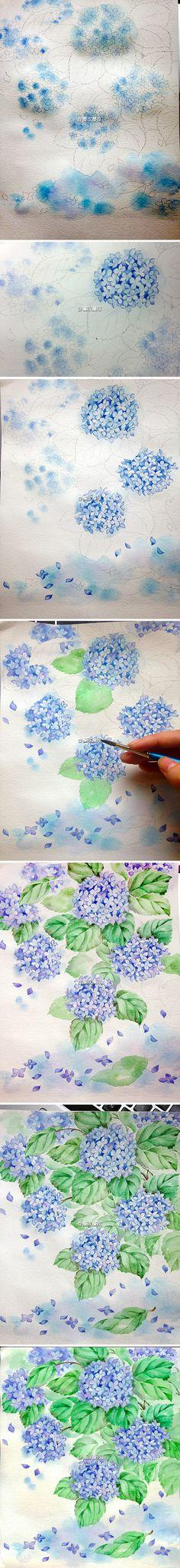 """【传说中的水彩教程】夏至,梅雨中的紫阳花。比起""""绣球""""和""""八仙花"""",更喜欢它的这个名字。盛夏雨水里郁郁的蓝紫色,是贯穿了六月和七月的光阴记忆。"""