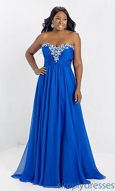 Long Strapless Plus Size Evening Gown, beautiful colour!