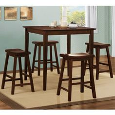 @Overstock - Gathering height table offers a contemporary dining experience  Designed to fit gracefully in any size kitchen  Bar set includes one table and four chairs  http://www.overstock.com/Home-Garden/Salvador-Warm-Cherry-Brown-5-piece-Pub-Set-with-24-inch-Stools/3646702/product.html?CID=214117 $327.99