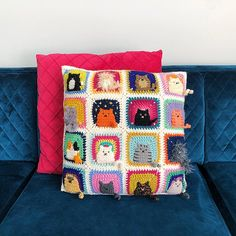 Many Cats Square - Crochet Pattern PDF - Granny Square Afghan Block Blog Crochet, Chat Crochet, Crochet Motifs, Easy Crochet Patterns, Free Crochet, Free Knitting, Point Granny Au Crochet, Crochet Squares Afghan, Granny Square Afghan