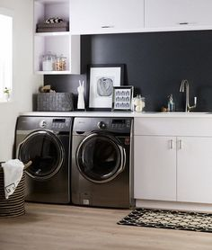 This chic laundry room features the Formica® Laminate Jonathan Adler Collection 9494 Charcoal Greek Key as a backsplash Laundry Decor, Laundry Room Organization, Laundry Room Design, Laundry In Bathroom, Jonathan Adler, Hidden Laundry, White Laundry Rooms, Formica Laminate, Room Paint Colors