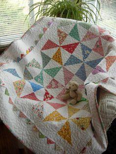 Grandmas Scrap Basket Pinwheel Baby Quilt by WoodenNeedleNook on easy