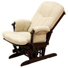 Storkcraft Deluxe Reclining Glider Rocker - Cherry/Beige - Indoor Rocking Chairs at Rocking Chairs