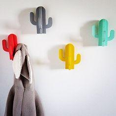 Léonard&Cie : Patère cactus - porte-manteaux - mural - mint - corail - jaune - gris - fixation invisible