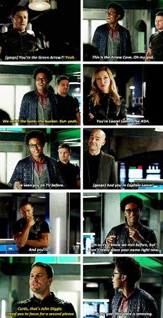 """""""I'm in the Arrow Cave. Oh my god"""" - Curtis fangirling, Oliver, Laurel and John #Arrow ((Poor Diggle!!))"""
