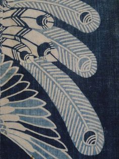 Detail of a katazome peacock from Sri Threads.