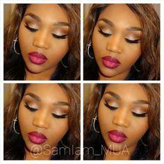 African American Makeup. Glitter eye, Makeup for black women. @SamIam_MUA on IG.