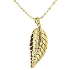 Jennifer Meyer Leaf Necklace - Yellow Gold ($1,375) ❤ liked on Polyvore featuring jewelry, necklaces, 14k yellow gold necklace, 14 karat gold pendants, 18 karat gold necklace, beaded chain necklace and 18k gold necklace