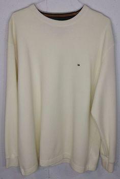 Tommy Hilfiger Mens Cream Yellow Cotton Poly Long Sleeve Crew Neck Sweatshirt XL…