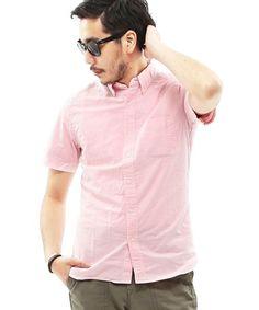 BEAMS PLUS(ビームスプラス)のBEAMS PLUS / ショートスリーブ オックスフォード ボタンダウンシャツ (スリムフィット)(シャツ/ブラウス)|ピンク