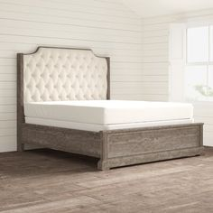 Ophelia & Co. Walburn Upholstered Standard Bed | Birch Lane Wood And Upholstered Bed, Beds Online, Bed Reviews, Distressed Painting, Adjustable Beds, Panel Bed, Cool Beds, Birch Lane, Wood Boxes