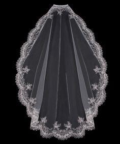 Silver Embroidered Rhinestone Mantilla Veil