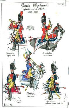 French; Imperial Guard, Gendarmes d'Elite, Trumpeter180-06, Kettle Drummer1804-06, Musician 1805-10, Colonel, 1810 & Gendarme, Grande Tenue,1805-14