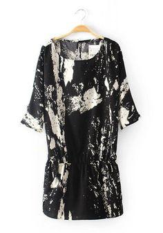 Black Ink And Wash Print Bat Sleeve Polyester Dress