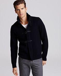 cute dark blue sweater, white tee, grey jeans / men fashion