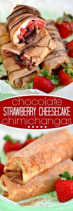 Chocolate Strawberry Cheesecake Chimichangas - Fresh strawberries, strawberry cream cheese and chocolate are wrapped in a tortilla, fried to a golden brown and rolled in cinnamon and sugar - totally irresistible! Easy Desserts, Delicious Desserts, Yummy Food, Tasty, Dessert Healthy, Mexican Food Recipes, Sweet Recipes, Slow Cooker Desserts, Snacks