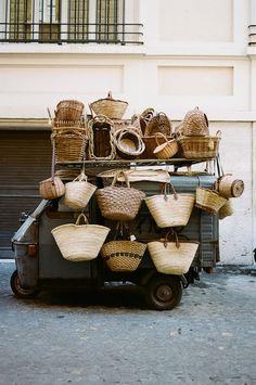 Basket seller's truck, France.