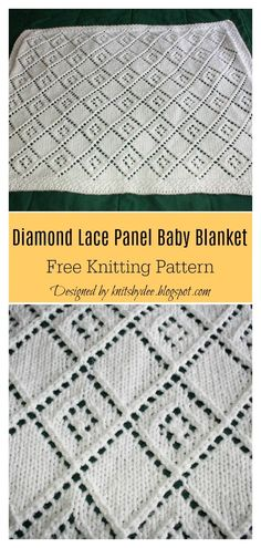 Diamond Lace Panel Baby Blanket Free Knitting Pattern This Diamond Lace Blanket Free Knitting Pattern is perfect for warm weather. The pattern might look complicated, but it's really not. Easy Knit Baby Blanket, Free Baby Blanket Patterns, Baby Shawl, Knitted Baby Blankets, Dishcloth Knitting Patterns, Free Knitting, Baby Knitting, Crochet Pattern, Baby Kind