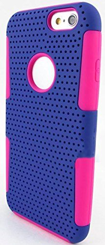 """myLife 2 Layer Neo Hybrid Bumper Case for iPhone 6 Plus (5.5"""" Inch) by Apple {Shocking Pink + Navy Blue """"Perforated Mesh Net"""" Two Piece SECURE-Fit Rubberized Gel} myLife Brand Products http://www.amazon.com/dp/B00PT2MQWY/ref=cm_sw_r_pi_dp_0d2Cub0E2SAXX"""