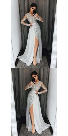 Long Sleeves V Neck Side Split Sexy Silver Long Prom Dresses Lace Chiffon Prom Dress