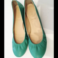 JCrew Jade Green Leather Cece Ballet Flats Excellent condition. Worn once. No visible signs of wear other than soles, which show very little. Very soft leather & comfortable sole. J. Crew Shoes Flats & Loafers