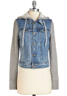 Around Downtown Jacket. For todays downtown trek, you couldnt wait to show off your casual-cool outfit, which youve topped off with this hooded jacket. #blue #modcloth