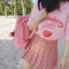 itGirl Shop STRAWBERRY MILK PINK OVERSIZED SHORT SLEEVE TSHIRT Aesthetic Apparel, Tumblr Clothes, Soft Grunge, Pastel goth, Harajuku fashion. Korean and Japan Style looks